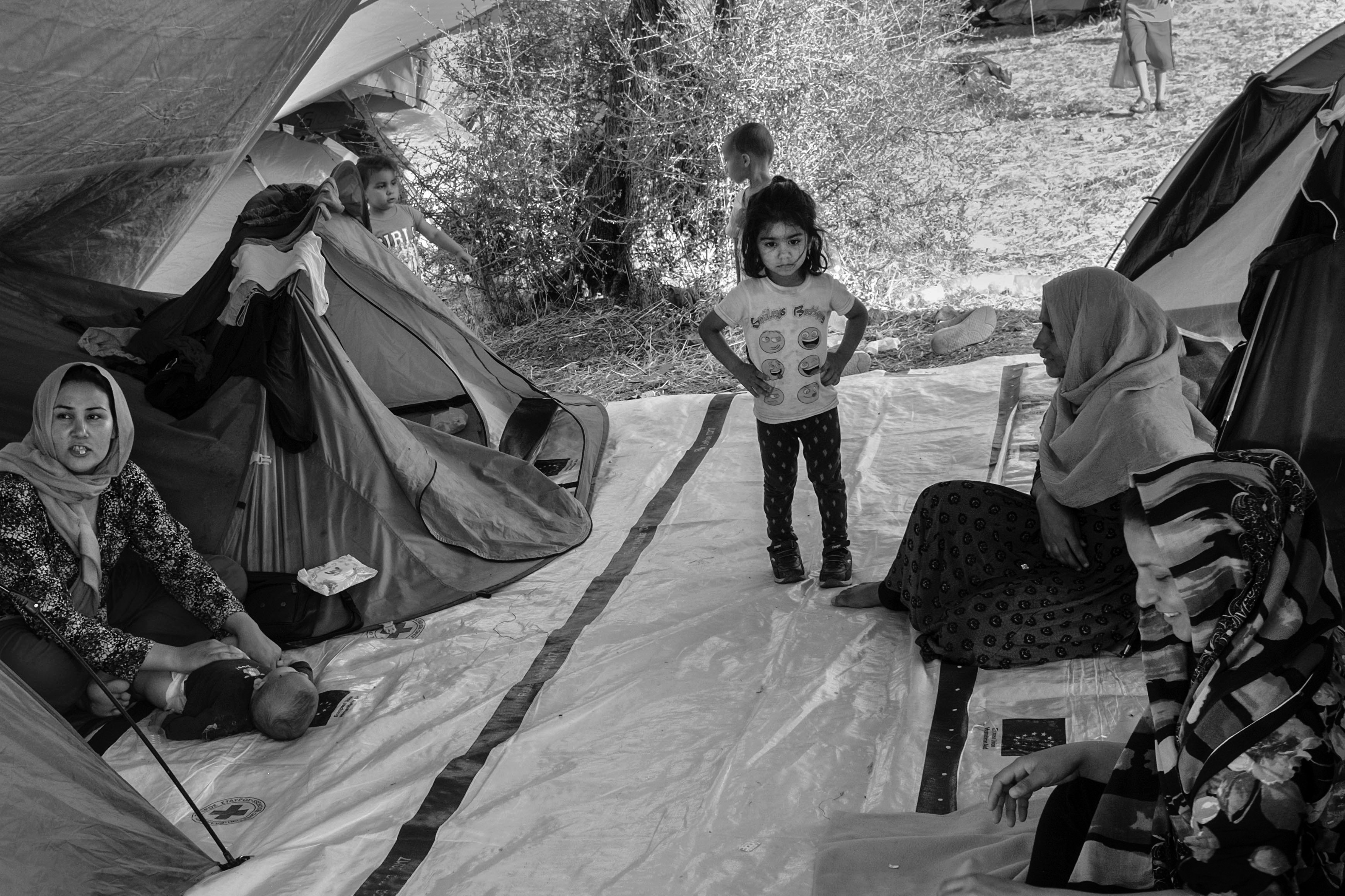 A Syrian family just arrived at the Olive Groove extension at refugee camp Moria, Lesbos, Greece