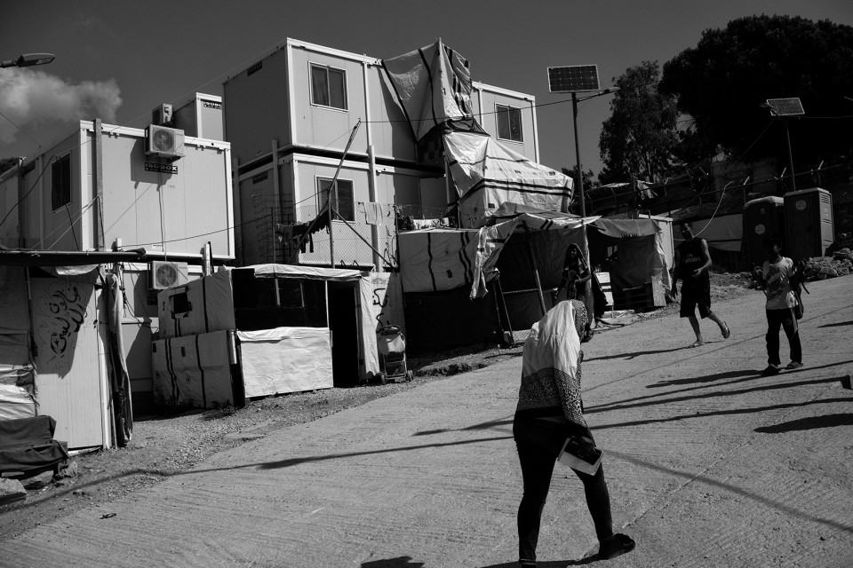 Stacked containers inside camp Moria, Lesbos, Greece.