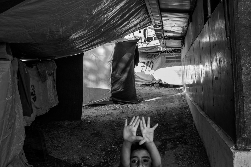Tents are attached to each other inside the refugee camp Moria, Lesbos, Greece.