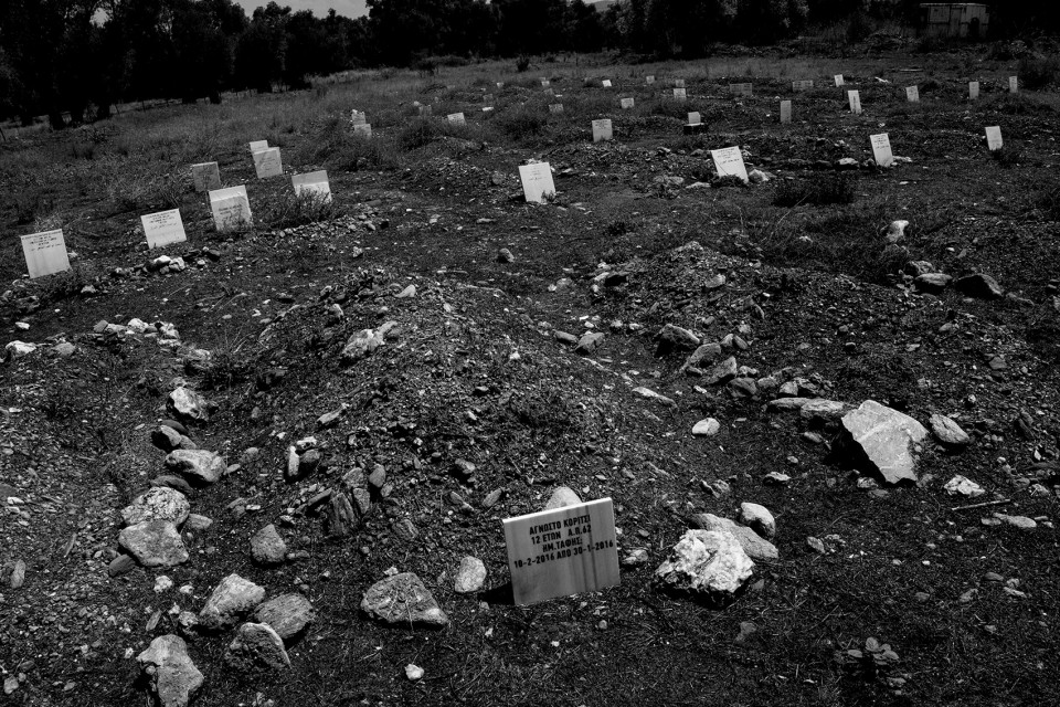 The grave of an unknown girl, 12 years old, whose body was found on 23 of March 2016. Cemetry, Lesbos, Greece, refugees